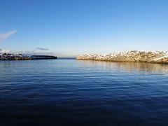 One fine day (flips99) Tags: blue winter sky snow reflection water norway coast seaside rocks january himmel molo vann sn breakwater rogaland bl karmy wavebreak 2016 speiling canonpowershotg15