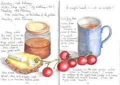 A Simple Lunch (Hornbeam Arts) Tags: cheese bread sketch tea tomatoes chia explore honey watercolour feta