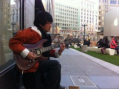 Guitar Man, Christmas Day (david ross smith) Tags: sanfrancisco california musician music asian guitar performance bayarea busker streetmusic unionsquare busking guitarist iphone guitarman asianmusician guitarbusker davidrosssmith
