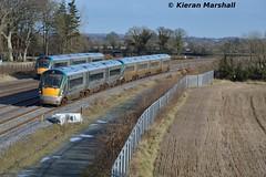 22049+22029 pass Stacumny Bridge, 15/2/16 (hurricanemk1c) Tags: irish train rail railway trains railways irishrail rok rotem countykildare 2016 icr iarnród 22000 22049 éireann iarnródéireann 3pce dublintocork stacummybridge 1245heustonwestport