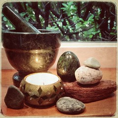 Discover Healing: Word(s) of the Day 2/27/2016 (alisonleighlilly) Tags: green moss candle herbs stones magic egg altar health mistletoe ritual meditation healing discovery paganism druidry oillamp uulent
