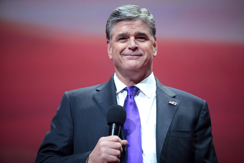 Sean Hannity. So!  You thought I would put up a caricature, didn't you?  The man does actually smile once in a while. especially when he thins that he has trapped an anti-Trumper (which can be done, by staying in the fact-free FoxZone).