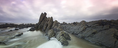 Rocky Panorama (Martyn.Smith.) Tags: uk sea england seascape beach sunrise canon landscape eos dawn coast photo rocks flickr image devon beaches landscapephotography beachsunrise sigmalens welcombemouth 700d southdevoncoast welcombemouthbeach