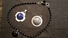 Onyx Cab with onxy and sterling bead necklace (lisa.finis) Tags: silver hematite sterling onyx lapis specularhematite