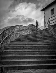 . (Sergio Mora-Gil Crespo) Tags: street sky man clouds stairs person one calle day cielo nubes urbana soledad hombre escaleras