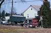 Titan KW Wreck ,RT31,Tarrs, PA.  3-10-1984 (jackdk) Tags: tractor truck crossing accident semi wreck semitruck coe kw railroadcrossing kenworth tractortrailer cabover crossingsignal tarrs dropdeck rt31 tarrspa