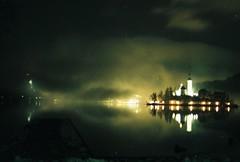 (ursa.b) Tags: lake church fog night island evening slovenia bled