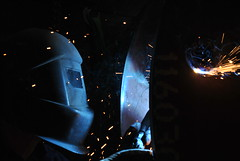 at work (MUMU1102) Tags: blue work dark travail fer etincelles soudeur