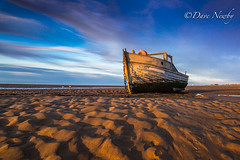 Meols shore, Wirral (davenewby123) Tags: longexposure sunset sea england sky seascape beach water clouds canon landscape boat seaside movement waterfront unitedkingdom outdoor dusk primo shore vehicle serene fishingboats wirral merseyside irishsea meols heliopan canon6d sigma24105