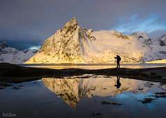 First Light on Olstinden Mountain (hak87) Tags: winter mountain reflection silhouette norway sunrise island photographer tripod lofoten hamnoy olstinden