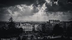 Paris (Alessio Catelli) Tags: travel sky people bw sun sunlight white black paris france skyline clouds landscape europa europe nuvole fuji montmartre coeur sacre bn sole francia bianco nero viaggio paesaggio raggi parigi xe1 xf1855