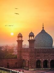 The Sun and The Mosque (ali_awais) Tags: pakistan sunset colors evening nikon mosque historical architeture badshahimosque mughal