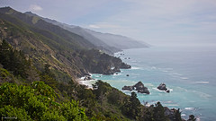 Central California Coast (San Francisco Gal) Tags: ocean california sky cloud mountain tree rock coast haze surf pacific wave cliffs coastline santaluciamountains ruby10