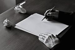 - Empties- (Ylenia Comi) Tags: old light blackandwhite woman white art writing hands nikon artistic bokeh poetic sheets expressive cinematic