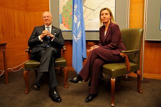 Federica Mogherini meets Staffan de Mistura, UN envoy for Syria