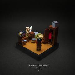 001 - Dobby's Warning (roΙΙi) Tags: harrypotter chamberofsecrets harry dobby interior bedroom wardrobe yesiamcrazy fun hogwarts rowling bricks magic vignette