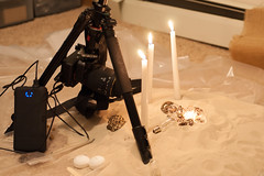 Setup for some macro (thewhiteshadow009) Tags: people macro night dark fire sand punk candle desert little sony small steam gears steampunk