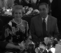 """Next year's club President, Scott Tarkenton and his wife Betty enjoying the Governor's Banquet at the 2016 District Conference.Photo credits: Ed SmallwoodMore information: <a href=""""http://northraleighrotary.org/2016-district-conference"""" rel=""""nofollow"""">northraleighrotary.org/2016-district-conference</a>"""