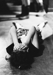 Over it! (J-nas) Tags: blackandwhite girl monochrome concrete hands fuji fear down tired fujifilm 12 cry emotional tear frustration fuj lay spent xt1 xf56mm