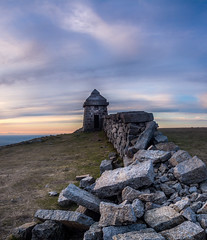 Commedagh Summit Shelter (Glen Sumner Photography) Tags: blue ireland sunset panorama mountains color colour nature newcastle landscape landscapes ngc peak summit northernireland tumble countydown mournes slievecommedagh mournewall