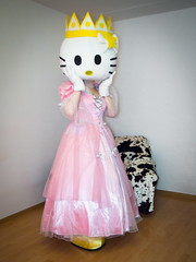 Pink Princess Kity (blackietv) Tags: pink white halloween costume dress princess hellokitty kitty crossdressing tgirl transgender gloves crown gown crossdresser