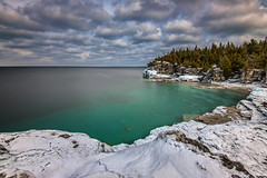 Indian Head Cove, Tobermory (angie_1964) Tags: longexposure trees sky snow ontario canada ice water clouds georgianbay explore tobermory exposureblending indianheadcove nikond800e
