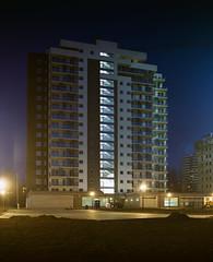 Katowice, Poland. (wojszyca) Tags: city longexposure urban 120 mamiya architecture night mediumformat construction kodak shift highrise epson 6x7 residential katowice portra towerblock 160 rz67 75mm 4990 tysiclecie