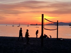The Golden Hour (David J. Greer) Tags: ocean city sunset summer people cloud english net beach vancouver clouds boats bay boat ship waterfront view post outdoor dusk ships anchor kits volleyball anchored moored