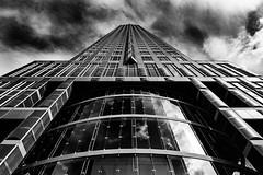 Frankfurt Tower (Traveller_40) Tags: bw blackwhite blackandwhite fenster frankfurthighrise messe tower window wolken clouds noiretblanc