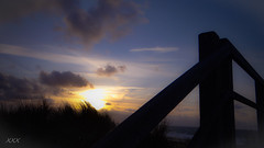 To come upstairs, one has to go up stairs ... (babs van beieren) Tags: blue sunset beach stairs evening seaside belgium blankenberge