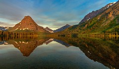 Morning Reflections - Pray Lake, Montana (Cole Chase Photography) Tags: morning mountain reflection sunrise canon glaciernationalpark t3i twomedicinelakes praylake mtsinopah