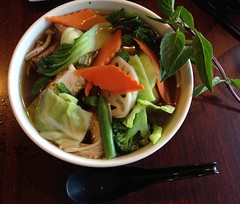 Pho For Lunch (mystuart) Tags: ca dinner lunch soup restaurant healthy colorful vietnamese bowl viet carrot basil noodles pho bokchoy brocolli