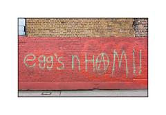 Graffiti (Egg Crew), East London, England. (Joseph O'Malley64) Tags: uk greatbritain england streetart london wall concrete graffiti movement paint britain spray british walls cans aerosol pointing brickwork eastend eastlondon frostdamage accesscover victorianbuildings thebuff stepgradient eggcrew eggcru