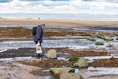 Lost (margaretsdad) Tags: sea woman beach lady 35mm river shopping bag walking lost coast scotland seaside edinburgh walkingstick backpack portobello rucksack figgate midlothian d7100 cscottbarron riverfiggate