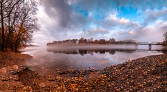 The Delaware River (Belvidere NJ) (a2roland) Tags: normanzeba2rolandyahoocoma2roland riverton bridge delaware river nj new jersey pennsylvania norm photo picture flicker flickr landscape water reflection sky clouds blue fog foggy mist misty trees fall leaves orange foliage embankment shore stones rocks shells beams island belvidere ultra wide angle nikon d5500 boat beach ramp basin dock © norman zeb photography all rights reserved