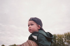 Nicholas (jesseletford) Tags: thanksgiving sky baby ontario cute film halloween hat 35mm canon grey kid berry child farm roots shoulders peterborough buckhorn