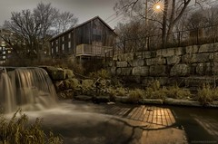 Grist Mill (martinaschneider) Tags: nightphotography trees winter lake ontario tree mill water waterfall waterloo waterfalls silverlake waterloopark gristmill