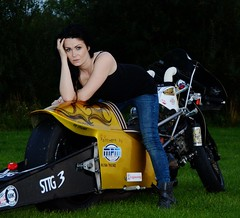 Holly W_7030 (Fast an' Bulbous) Tags: santa england woman girl bike drag evening pod nikon gimp babe chick biker suzuki brunette goldenhour d7100