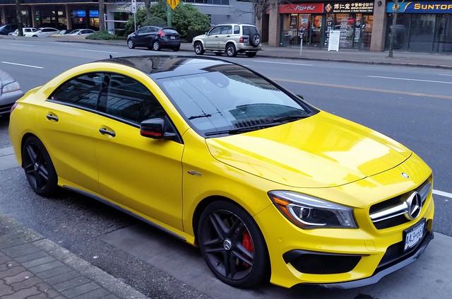 canada yellow sedan bc burnaby amg cla45