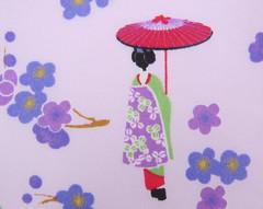 2546C - Sale - Japanese Girl Kimono Fabric in Purple , Plum Flower , Umbrella, Girls in Kimono (ikoplus) Tags: girls flower girl umbrella japanese doll purple sale sewing plum dressing fabric commercial quilting kimono supplies kokeshi tenugui 2546c ikoplusfabric