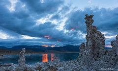 And suddenly it appeared (Photosuze) Tags: california sunset orange mountains water clouds streaks monolake tufa easternsierras