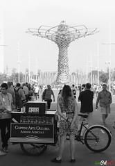 Arte Olearia (Expo 2015) (i am Peter C.) Tags: summer italy woman milan bike bicycle donna italia estate expo milano oil bici behind lombardia olio bicicletta lombardy dietro spalle coppini expo2015 expomilano2015 oliocoppini
