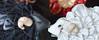 Tsumami Zaiku. Year of the Sheep. Black and White. (Bright Wish Kanzashi) Tags: flower cute art animal hair asian japanese pin sheep handmade style ornament fabric zodiac ornate fiber creature technique 羊 tsumami kanzashi 未年 摘み細工 つまみ簪