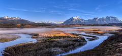 Lifting Fog (Russmosis) Tags: chile panorama patagonia mountain nature fog sunrise river landscape torresdelpaine snowcaps rioserrano