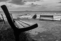 Winder shapes (Paterdimakis) Tags: travel sea sky bw white seascape black beach water beautiful clouds bench island see blackwhite mediterranean waves athens line greece shade winder voula shape seaview blackwhitephotos
