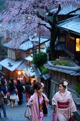 Japan Kyoto . . Ninen-zaka and San'nen-zaka approaches  in KYOTO  DSC_5393 (Ming - chun ( very busy )) Tags: travel girl beautiful beauty japan lady cherry nikon women kyoto blossom traditional 85mm   cherryblossom  kimono nikkor f18  d800 streetshot  kimonos streelamp         85mmf18    traveljapan     streetsnap streetscence   f1885mm  sukura nikon85mmf18    nikon85mm18