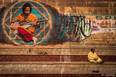 Music, Peace (ujjal dey) Tags: music dog india art graffiti waiting peace sarod ghats benaras wallpaintings 2016 ujjal nikond90 ujjaldey anshumanmaharaj ujjaldeyinvaranasi jonnypopovich