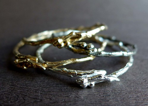 Twig Bangles in Sterling and Bronze