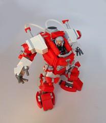 Red environment suit re-do, cockpit change (legolover22) Tags: robot lego scifi mecha mech moc hardsuit