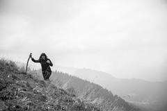 (Dark Flash) Tags: sky bw white mountain black girl sarah montagne switzerland long suisse hiking walk climbing jonas